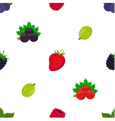 seamless pattern of cartoon berries vector image