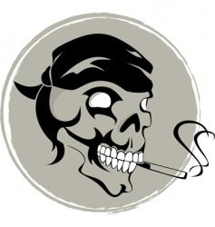 smoking skull vector image vector image