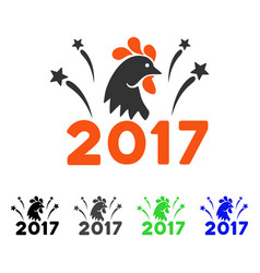 2017 rooster fireworks flat icon vector