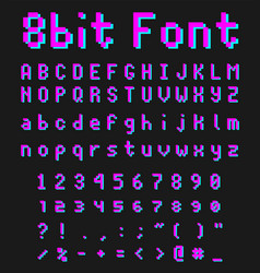 8bit font alphabet retro style game type vector image
