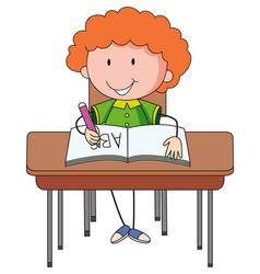 A doodle kid doing homework cartoon character vector