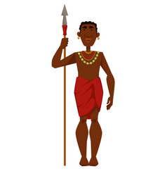 African man warrior tribe member in jewelry vector