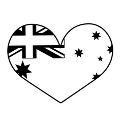 australia flag shaped heart on white background vector image