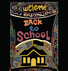 Back to school hand drawn vintage with hand letter vector