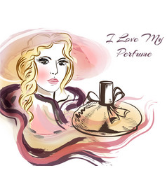 Beautiful sensual blonde with bottle of perfume vector