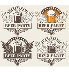 beer hobeer and wings vector image