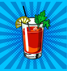 Bloody mary cocktail pop art vector