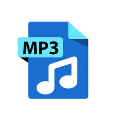 Blue icon mp3 file format extensions icon vector