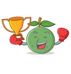 Boxing winner guava mascot cartoon style vector