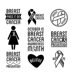 Breast cancer logos and ribbons vector image