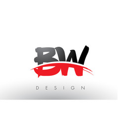 bw b w brush logo letters with red and black vector image