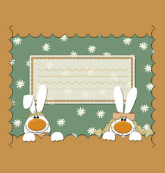 card with rabbits and camomile vector image