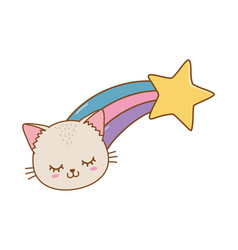 Cat with shooting star vector