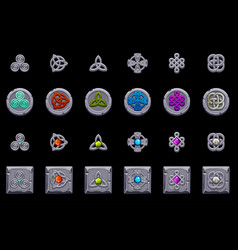 Celtic symbols stone coins and square with celtic vector