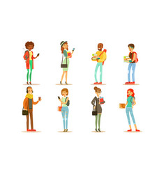 cheerful people in fashionable clothes set male vector image