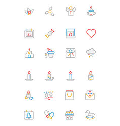 Christmas Colored Outline Icons 3 vector
