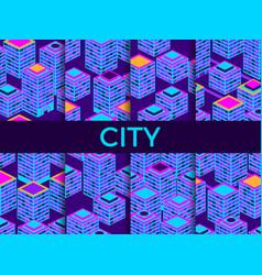 cityscape seamless pattern set isometric vector image