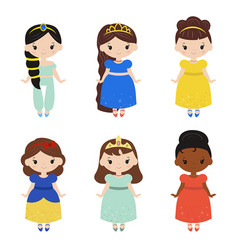 collection of beautiful princesses collection of vector image