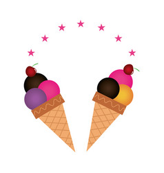 Color background with ice cream cones vector