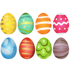 colorful easter eggs collection vector image
