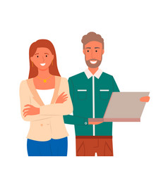 confident man and woman with laptop isolated vector image