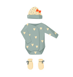 Cute green baby clothes and hat vector