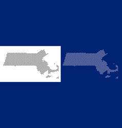 dotted massachusetts state map vector image