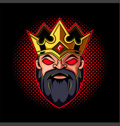 dwarf king head mascot logo vector image