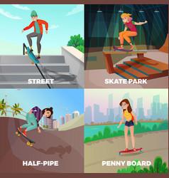 Extreme skateboarding 2x2 design concept vector