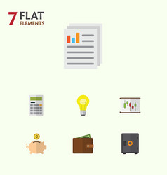 Flat icon gain set of strongbox billfold diagram vector