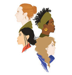 Four girls profile portraits vector