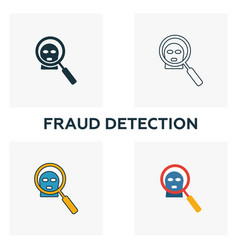 Fraud detection icon set four elements in vector