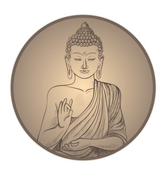 Gautama buddha with closed eyes in frame vector