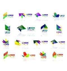 Geometric shapes company logo set paper origami vector