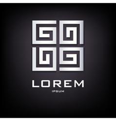 Geometrical silver logo design vector image