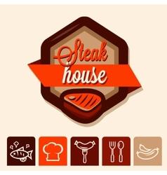 grill menu logo vector image