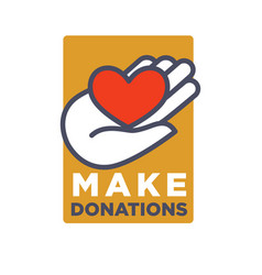 hand and heart logo template for social donation vector image