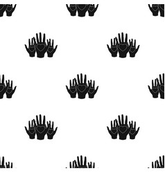 Hands up with hearts icon in black style isolated vector