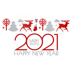 Happy new 2021 year christmas flyer with reindeer vector
