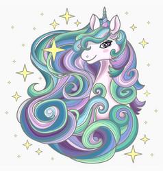 Head a unicorn with a long mane magical vector