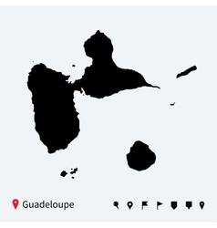 High detailed map of Guadeloupe with navigation vector image