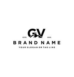 Letter gv mountain logo design vector
