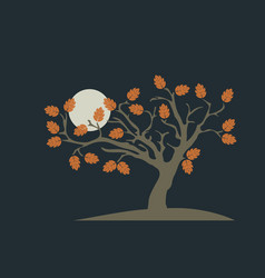 lonely autumn tree with moon vector image