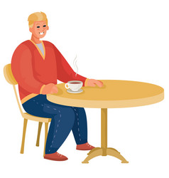 Man sitting alone at round table loneliness vector