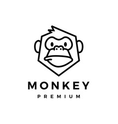 monkey chimp gorilla monoline logo icon vector image