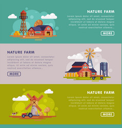 nature farm landing page templates set summer vector image