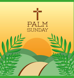 Palm sunday cross hills sun branch card decoration vector