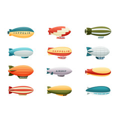 passenger airships set bright colored cigar vector image