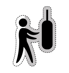 Practice boxing silhouette icon vector