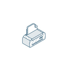 printer isometric icon 3d line art technical vector image